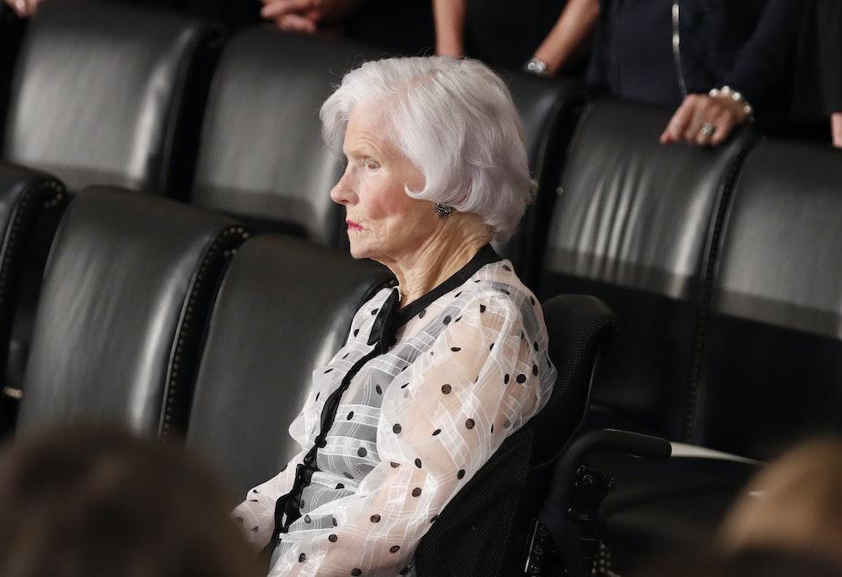 caption: Roberta McCain, the mother of late U.S. Senator John McCain, is seated prior to ceremonies honoring him in the Capitol Rotunda, Aug. 31, 2018