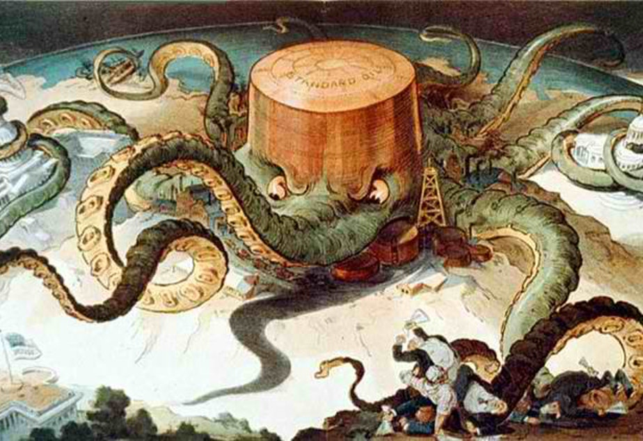 caption: Standard Oil depicted as an octopus, parodying its status as a monopoly.