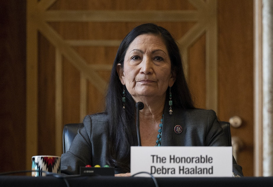 caption: Rep. Deb Haaland, D-N.M., during her Senate hearing Tuesday to be Interior Secretary. If confirmed, she would be the first Native American to hold the post.