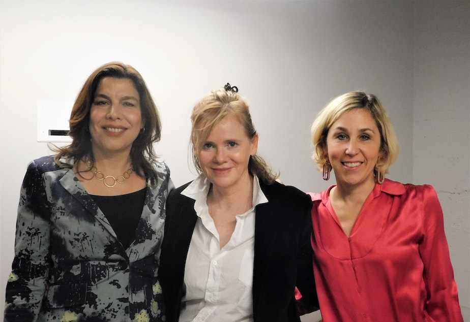 caption: Maria Russo, Maria Semple and Pamela Paul