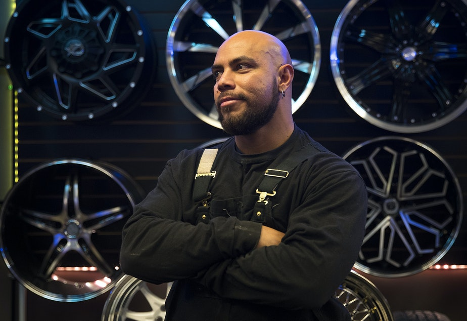 Ed Ponce owns and works at JE Wheels and Tires at Aurora Avenue North and North 145th Street.
