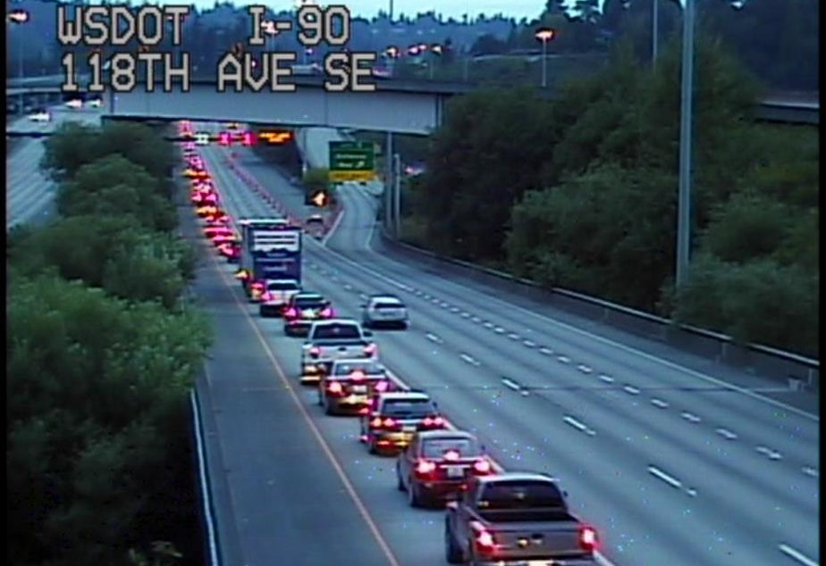 caption: The Interstate 90 backup early Tuesday morning: one scenario where being polite gets you nowhere.