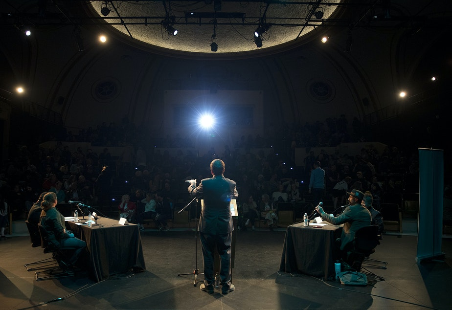 Ross Reynolds moderates 'That's Debatable: The Homelessness Crisis is Killing Seattle' on Tuesday, October 29, 2019, at Langston Hughes Performing Arts Institute in Seattle.