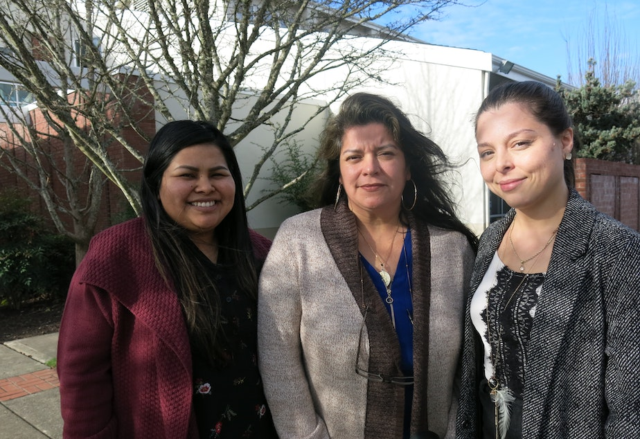 caption: Ada Gomez and Adriana Bedoy with Centro Latino and Maia Espinoza with Center for Latino Leadership are doing census outreach in preparation for the 2020 census.