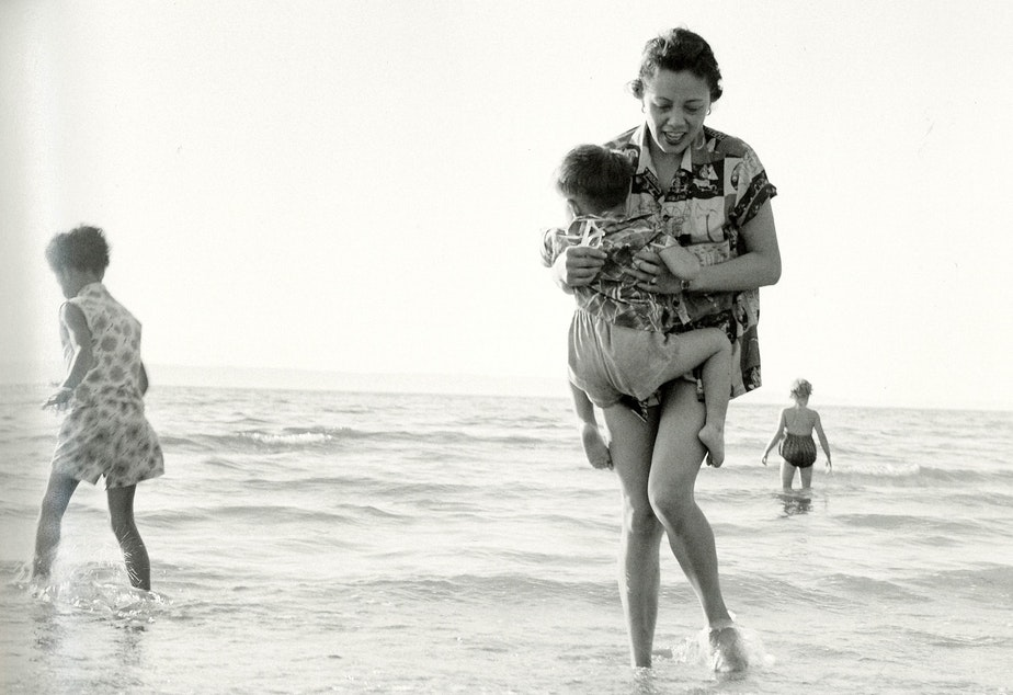 Mildred Mar and her family at Saltwater State Park on Puget Sound near Des Moines, around 1960. According to the MOHAI photo book, 'Seattle on the Spot,' Mildred and her family were close with the photographer's family and enjoyed vacations together.