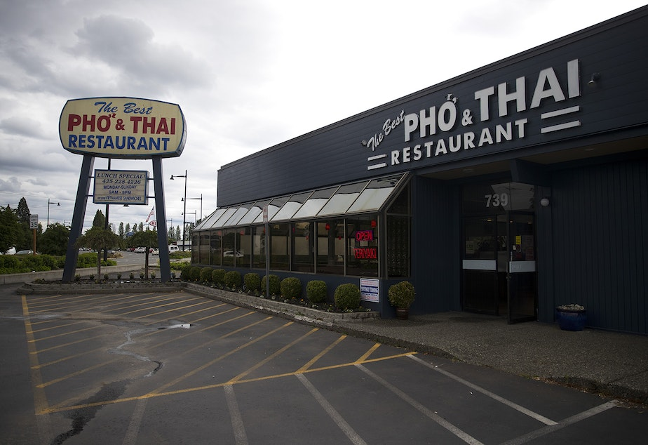 caption: The Best Pho and Thai Restaurant is shown on Tuesday, May 19, 2020, on Rainier Avenue South in Renton.