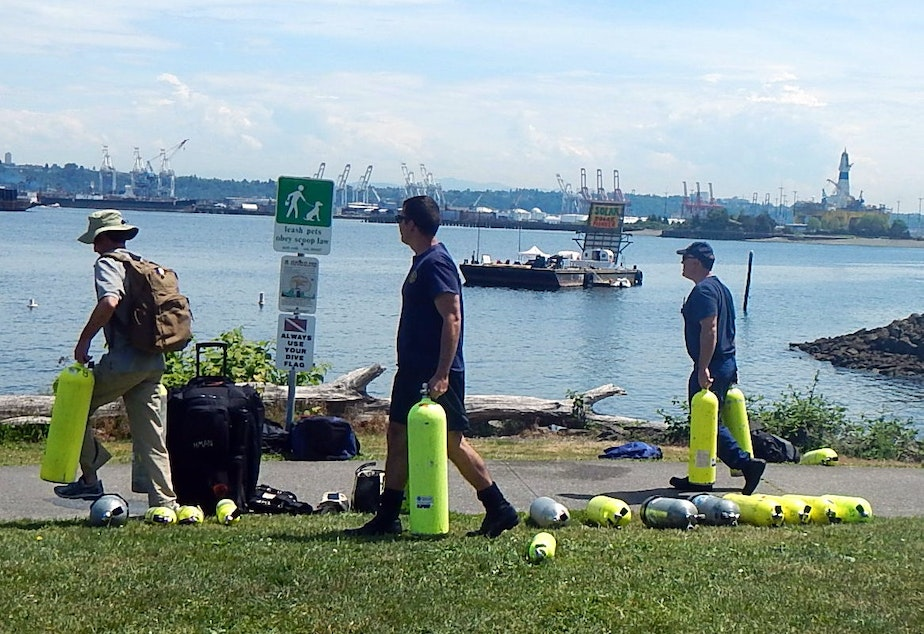 Seacrest Park in West Seattle, with protesters' barge and Shell's oil rig in the background