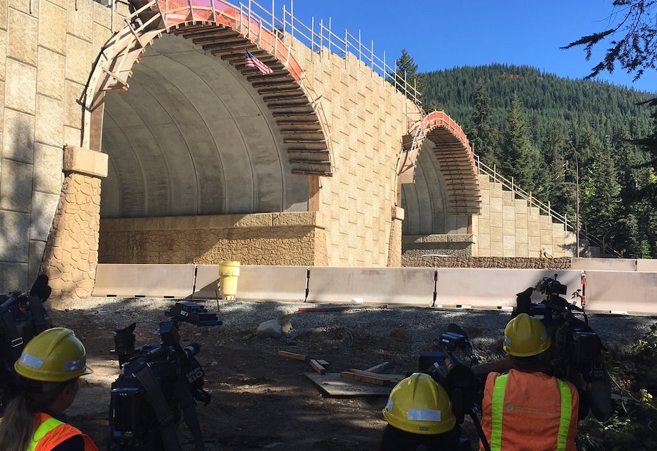 caption: View from ground level Monday of the new wildlife-only overcrossing on I-90 east of Snoqualmie Pass.