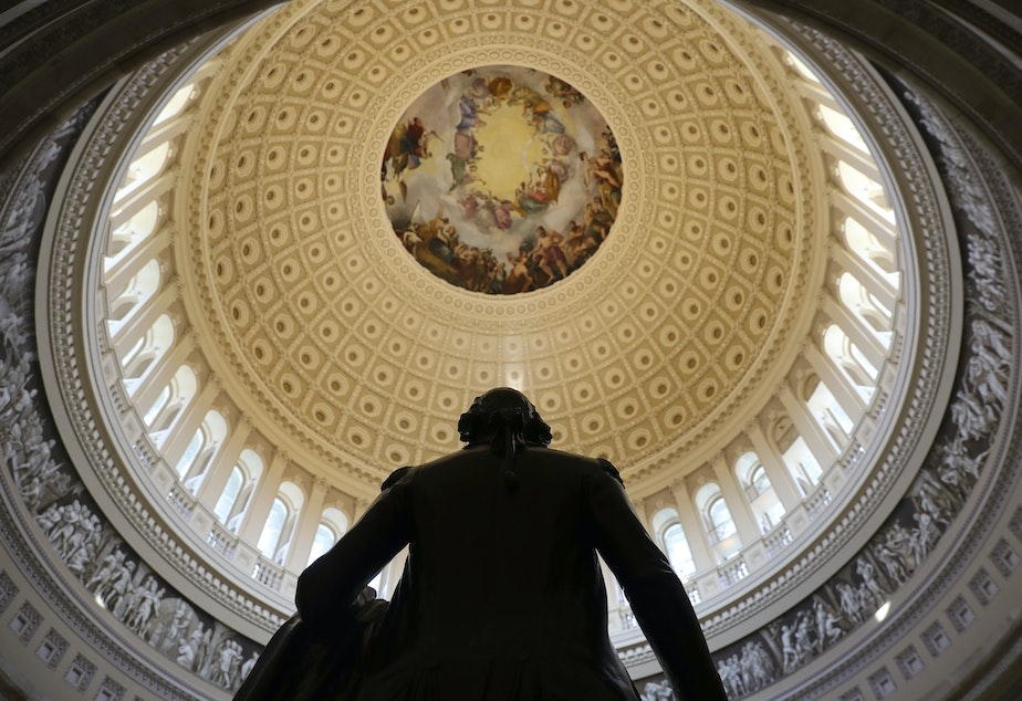 The Capitol Rotunda is seen with the statue of George Washington on Capitol Hill in Washington, Tuesday, Jan. 30, 2018.