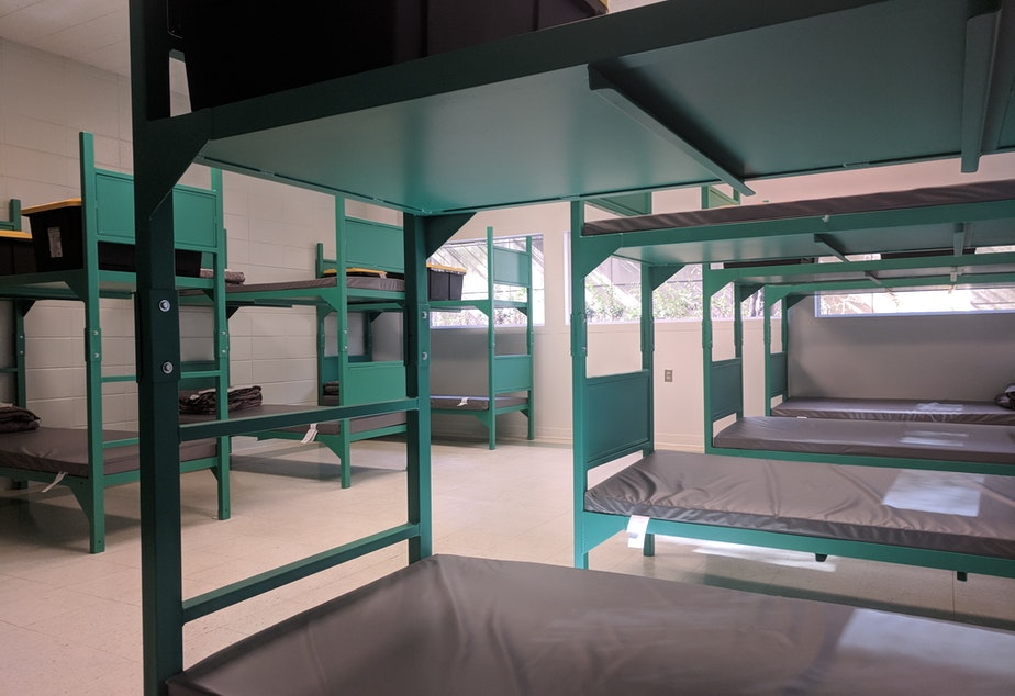 caption: Bunk beds at the new King County homeless shelter in the west wing of the downtown Seattle jail