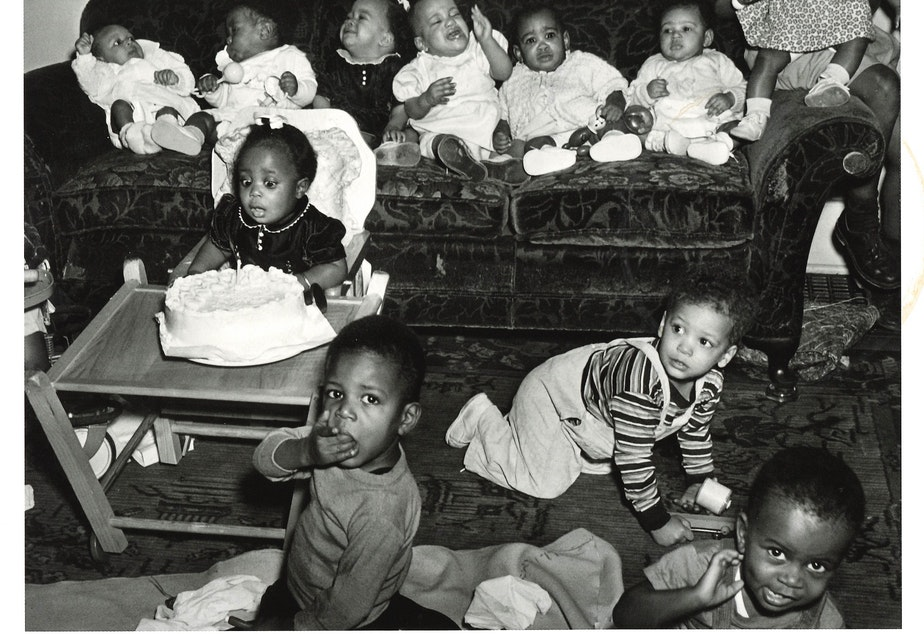A 1 year old girl celebrates her first birthday, circa 1950. (To help us ID these babies, note the photo number. This is #9.)