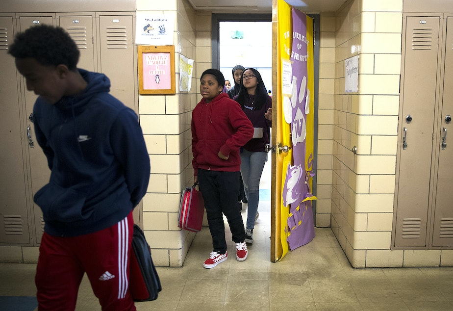 Seventh-grade students leave Janet Bautista's science class as the bell rings on Thursday, March 28, 2019, at Asa Mercer Middle School in Seattle.