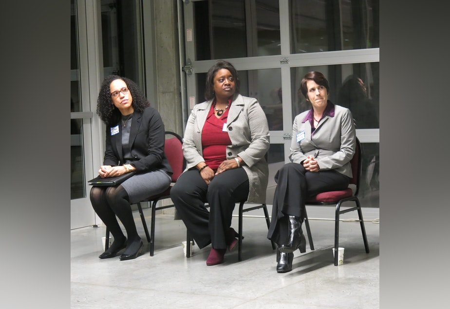 caption: Tina Dixon, Quanetta West and Deborah Jacobs (left to right) are finalists to head King County Office of Law Enforcement Oversight.