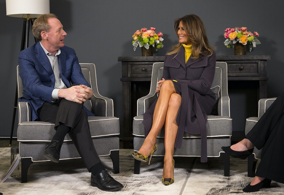 "caption: First Lady Melania Trump speaks with President of Microsoft, Brad Smith, during a three-state tour for her ""Be Best"" initiative on Monday, March 4, 2019, at the Microsoft Executive Briefing Center in Redmond."