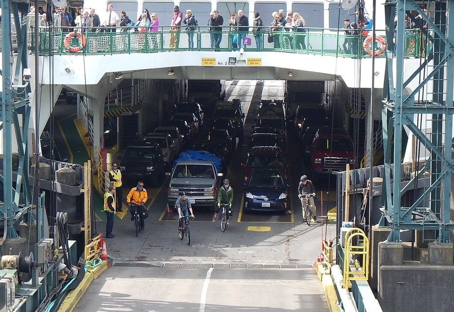 caption: These cyclists did not forget (or 'forget') their bikes on the ferry.