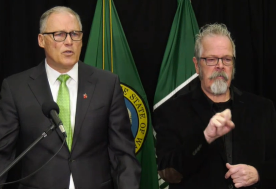 caption: Gov. Jay Inslee announces that he is ordering the prohibition on gatherings of more than 250 people, March 11, 2020.