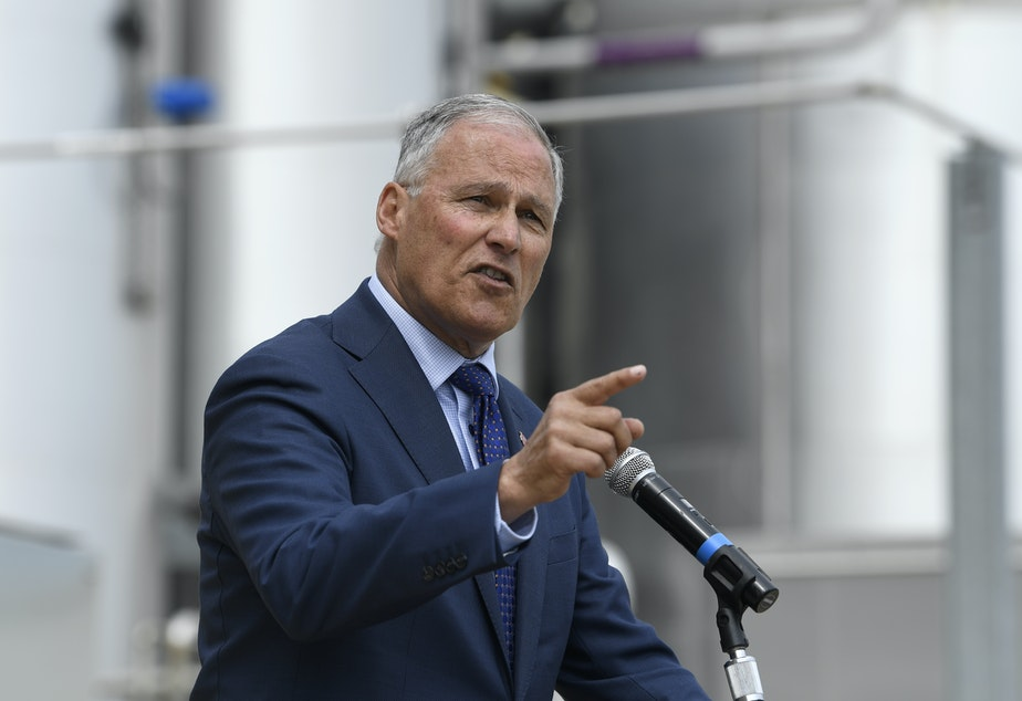 Democratic Presidential candidate Washington Gov. Jay Inslee speaks during an event at the Blue Plains Advanced Wastewater Treatment Plant in Washington, Thursday, May 16, 2019, during an event where he unveiled part of his plan to defeat climate change.