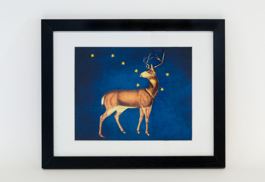 """Elk and the Big Dipper"", framed print by Roxann Murray (Assiniboine)"