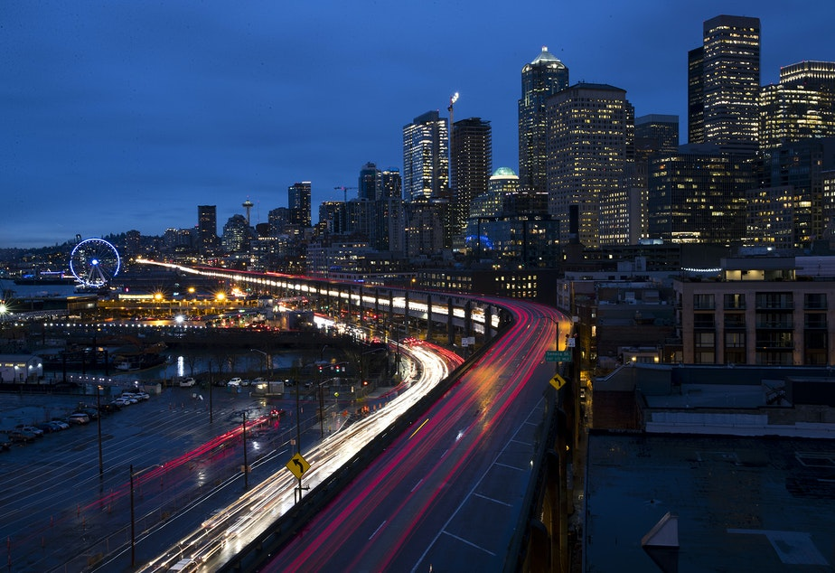 caption: Rush hour traffic is shown along the Alaskan Way Viaduct on Wednesday, January 9, 2019, in Seattle.