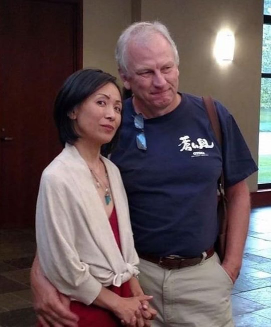 Rose Sachiko Callahan looks into the camera with her partner, Steve Schoettmer. When Rose passed away of color cancer, Steve decided to run for office to fight for Medicaid in Indiana.