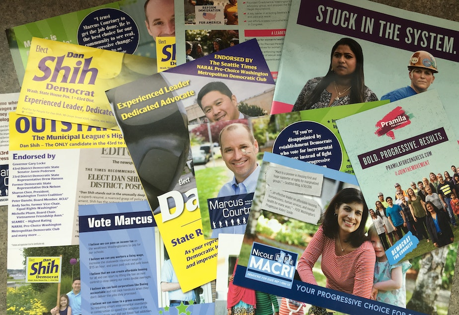 caption: A sampling of the many political ads that have landed in one reporter's Seattle mailbox this summer.