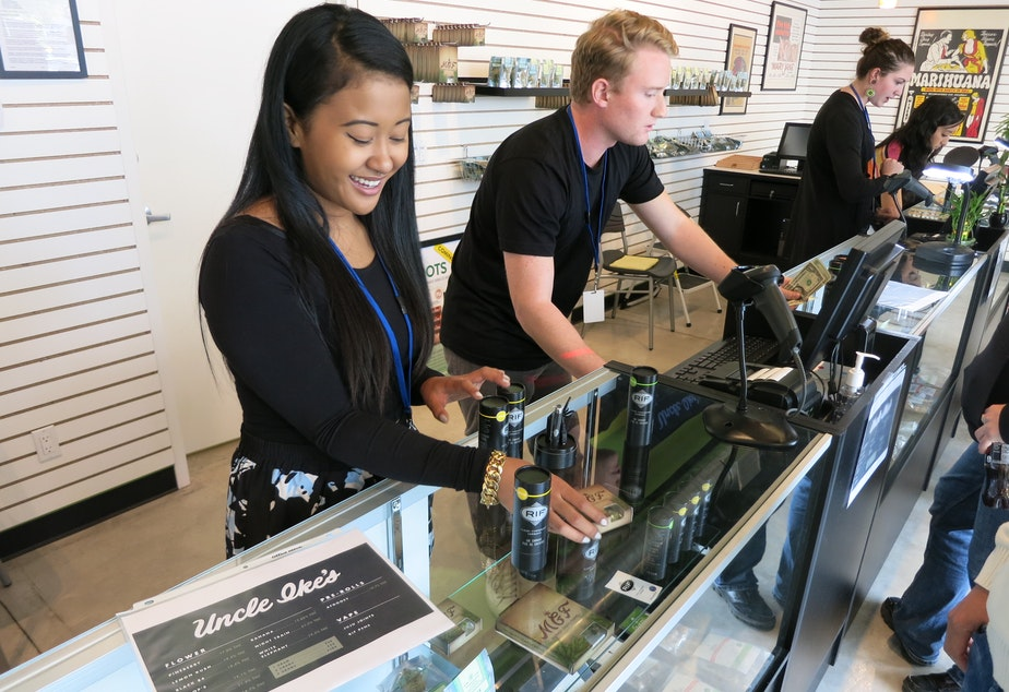 caption: Employees at Ike's Pot Shop in Seattle, Sept. 30, 2014.