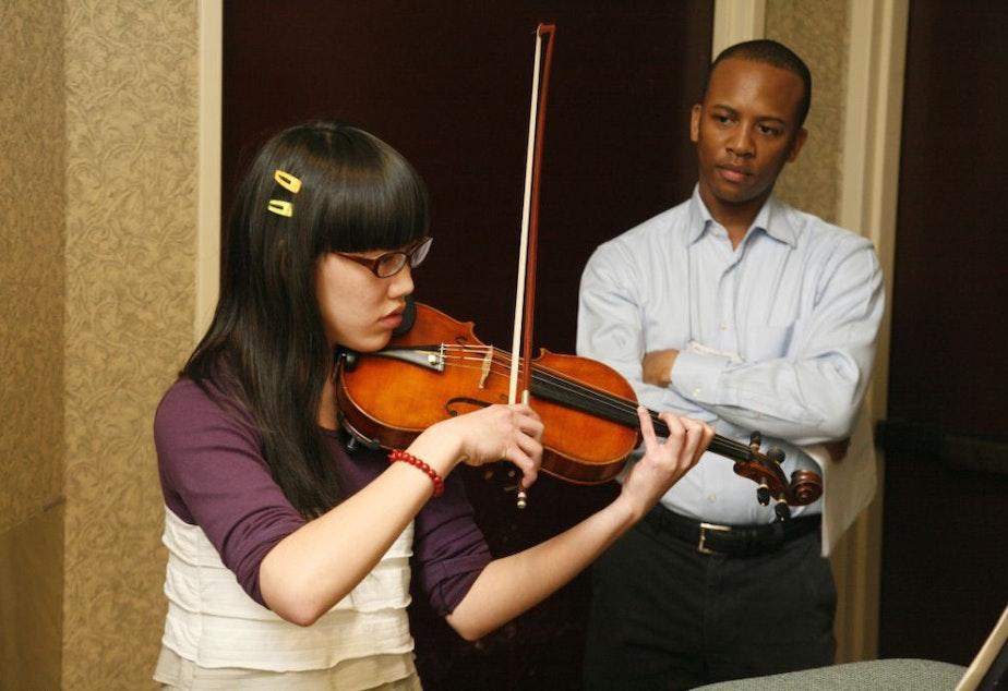 caption: Quinton Morris, violin professor.