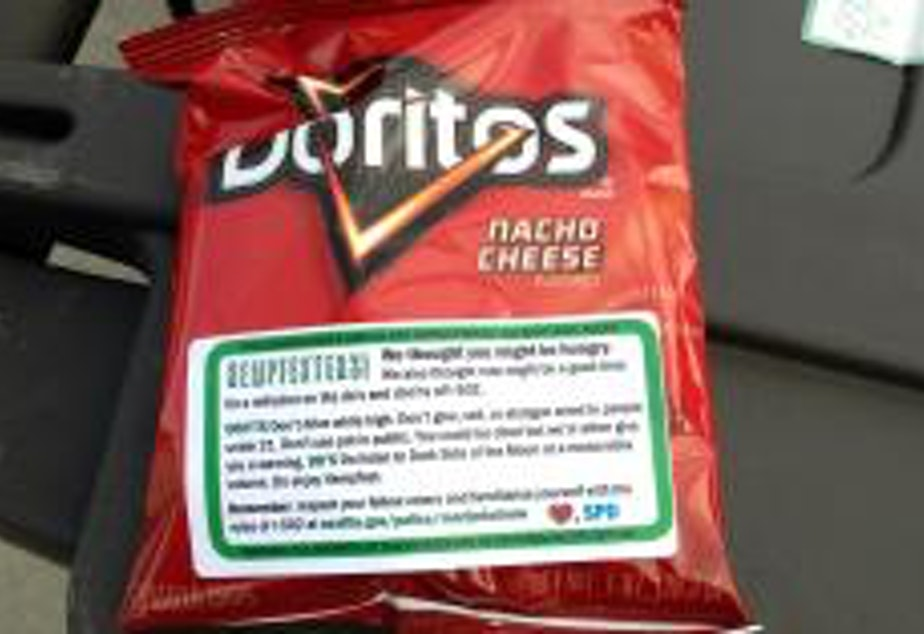 caption: The SPD Doritos giveaway at last year's Hempfest was a viral hit, but it is now the subject of a complaint.