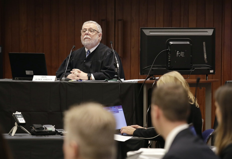 Federal Administrative Law Judge George Jordan speaks as he begins a hearing to help determine whether a small American Indian tribe can once again hunt whales, Thursday, Nov. 14, 2019, in Seattle. The Makah Tribe, from the northwest corner of Washington state, conducted its last legal hunt in 1999, when its crew harpooned a gray whale from a cedar canoe.