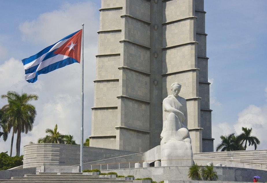 caption: Memorial to poet José Martí in Old Havana