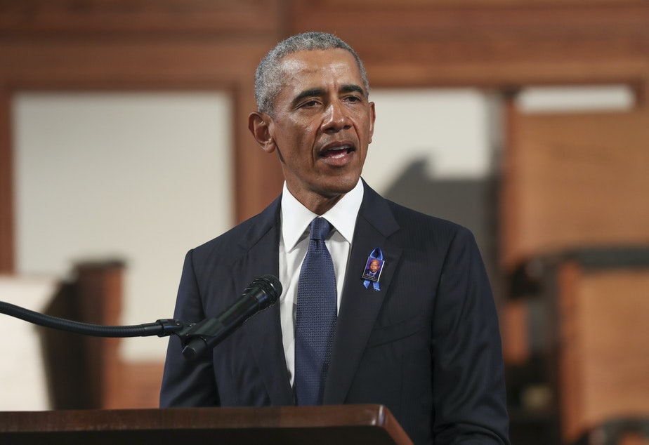 caption: So far, former President Barack Obama has mostly stayed away from the presidential campaign this year.