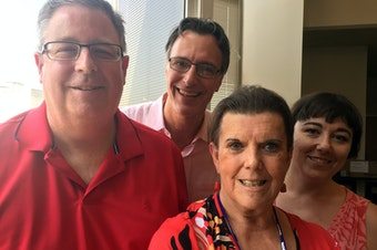 Through the smokey haze and in an air conditioned building, Chris Vance, Cathy Allen, Bill Radke and Erica Barnett.