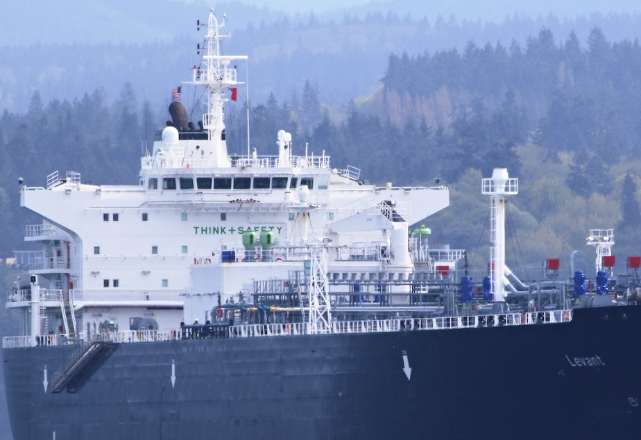 caption: The liquefied petroleum gas tanker Levant at anchor off Port Angeles, Washington, in April 2016