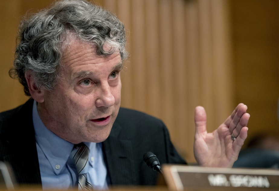 caption: Sen. Sherrod Brown, D-Ohio, wants answers from one of the largest owners of single family rental homes in the U.S. A report from an advocacy group finds that the company has been filing evictions at more than four times the rate in predominantly Black counties as in mostly white counties.