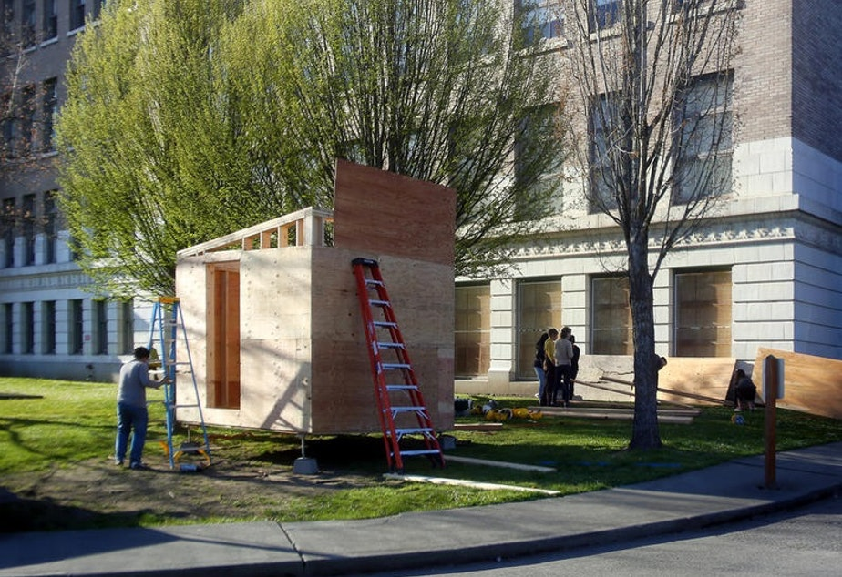 The Low Income Housing Institute has filed for a Seattle permit to open a camp with tiny houses, much like the one above, and tents.