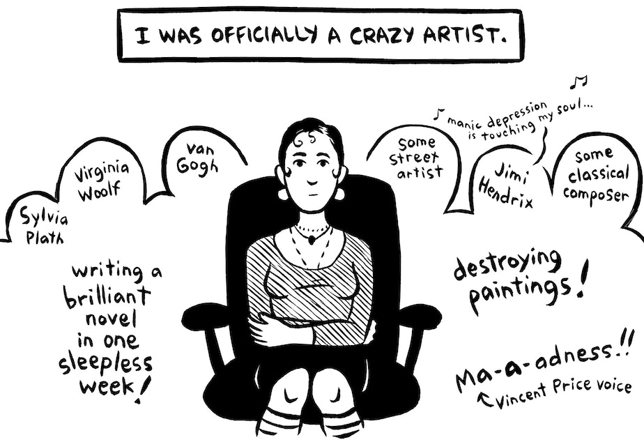 "caption: Panel from Ellen Forney's award-winning graphic memoir ""Marbles: Mania, Depression, Michelangelo, & Me"""
