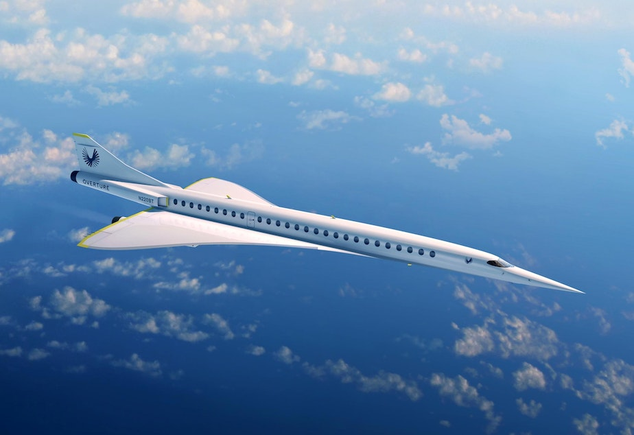 caption: Rendering of 55-75 passenger supersonic airliner under development by Boom Supersonic.