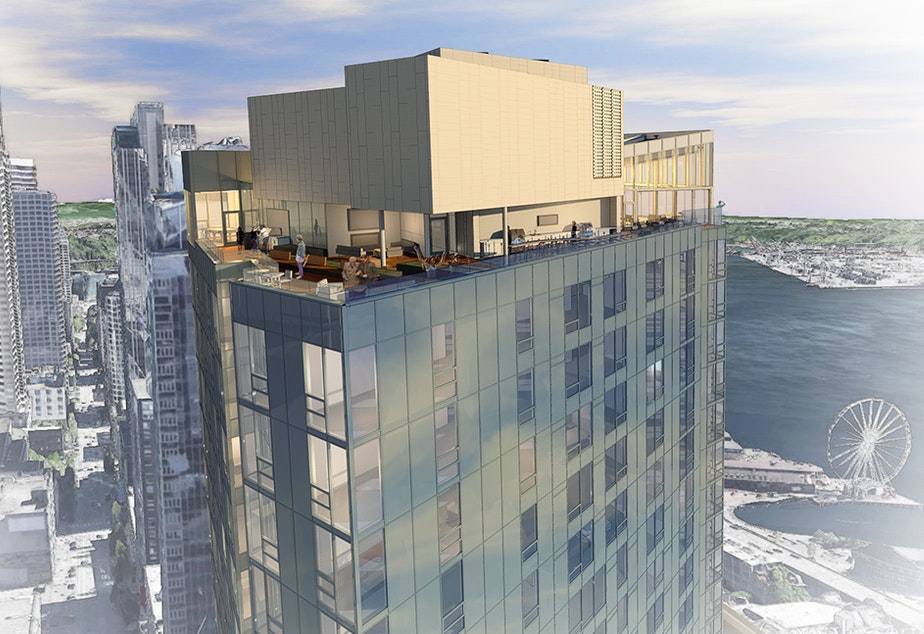 caption: A sketch of The Emerald, a 40-foot condominium tower planned at 2nd and Stewart near Pike Place Market in downtown Seattle. Chinese investors helped make the project possible.