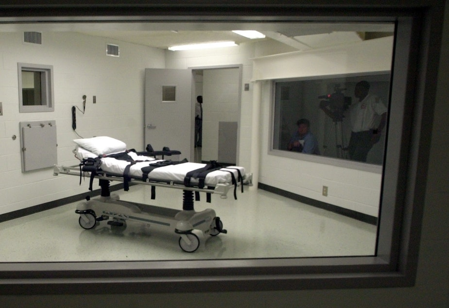 This file photo shows Alabama's lethal injection chamber at Holman Correctional Facility in Atmore, Ala. Inmate Domineque Ray was put to death Thursday night without his spiritual adviser present in the chamber.