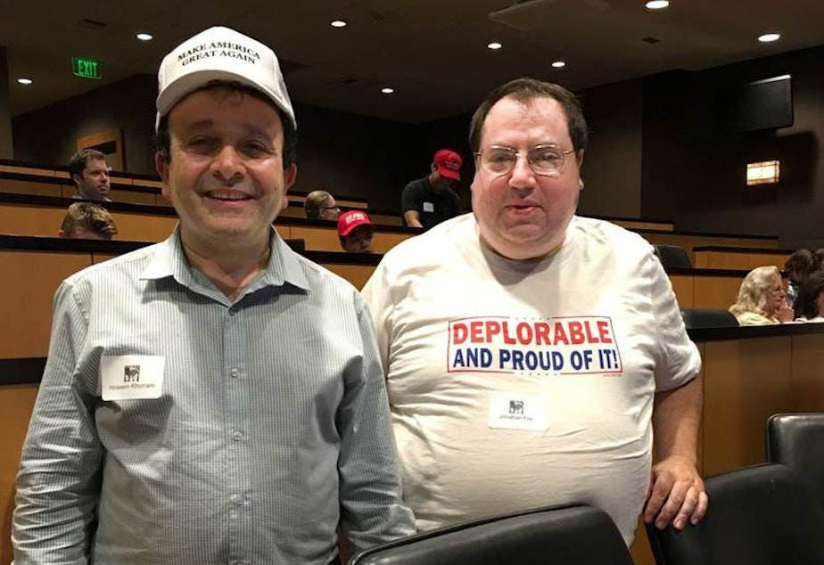 Hossein Khorram (left) at a Republican viewing party of a presidential debate in Bellevue, Washington.
