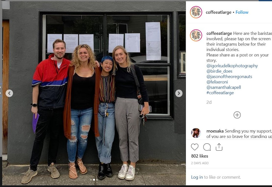 caption: Samantha Capell (second from left) managed Slate Coffee Roasters in Ballard until she led five other employees in a walkout June 22, 2019.