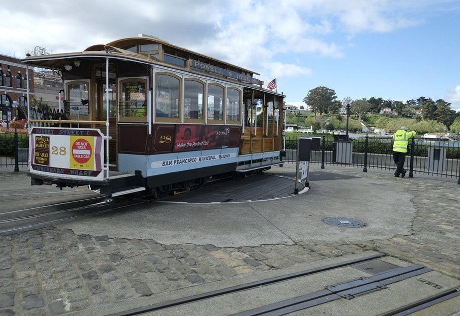 caption: Quiet on the streets and trolleys of San Francisco