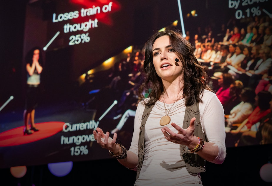 Liv Boeree on the TED stage.