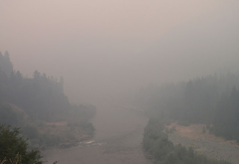 caption: File photo. Smoke from 2020 fires in the Northwest and coming up from California has innundated the region this week, as it has in years past.