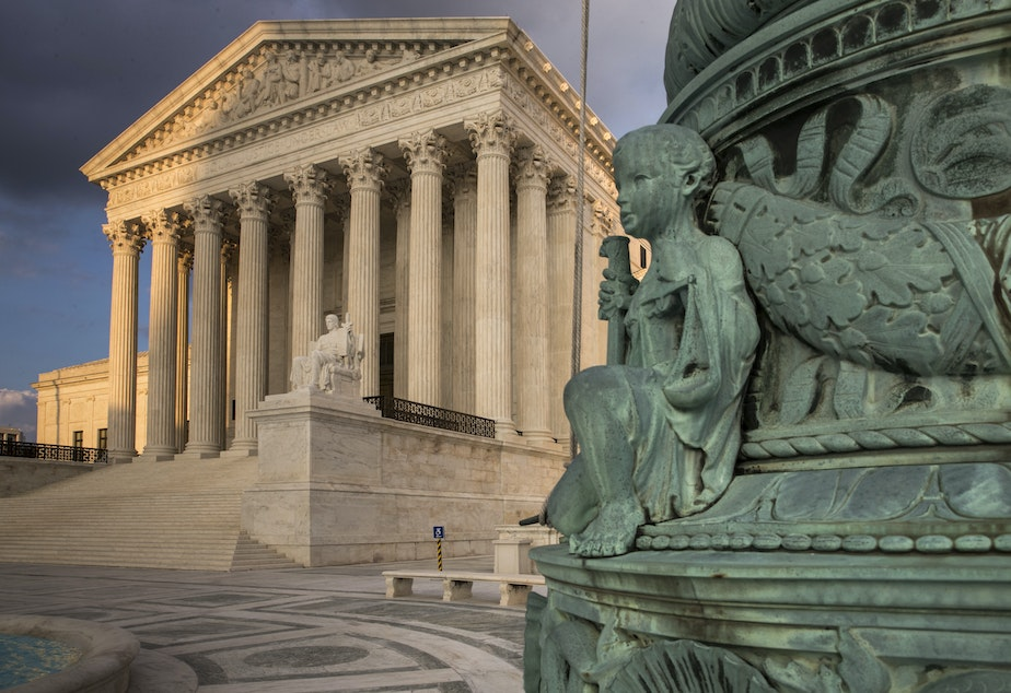 caption: FILE: In this Oct. 10, 2017, file photo, the Supreme Court in Washington, at sunset.