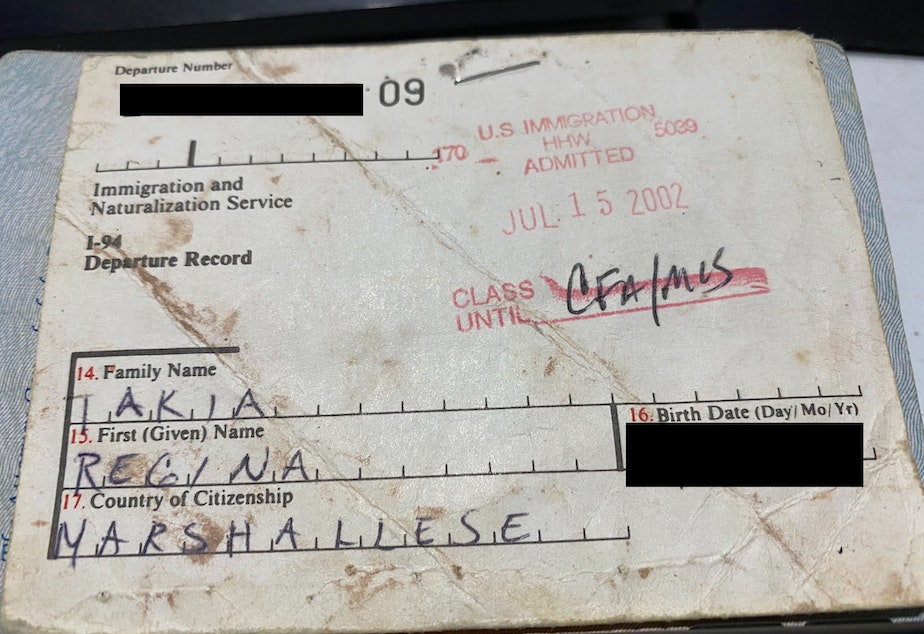 caption: An I-94 form from a migrant to the U.S. from the Marshall Islands.
