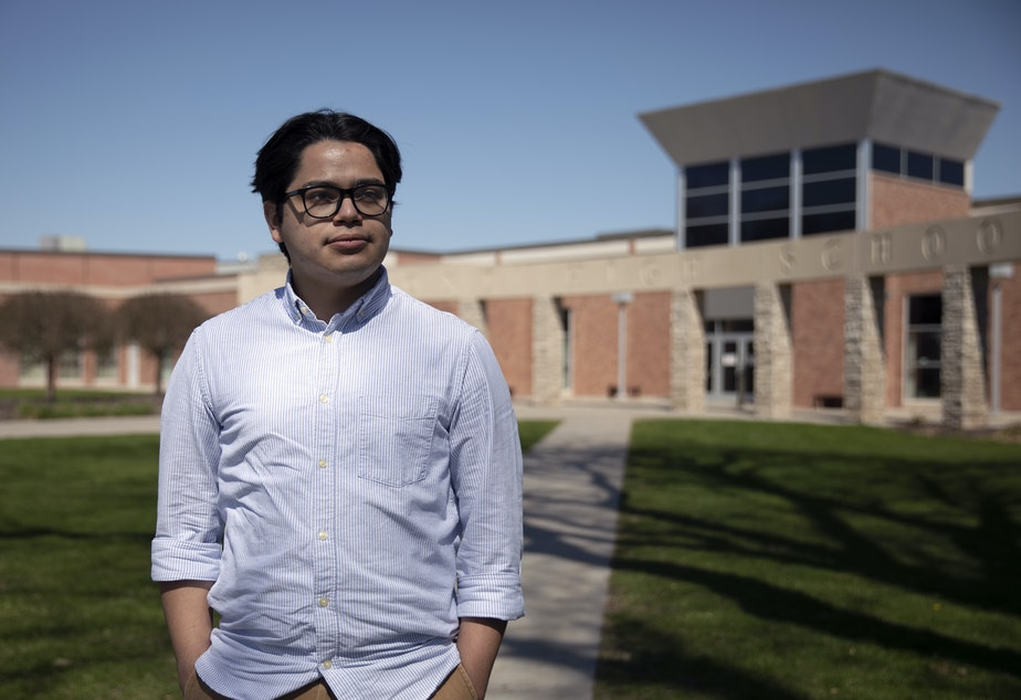 caption: Creighton Law student and activist César Magaña Linares in Fremont, Neb., in 2021.