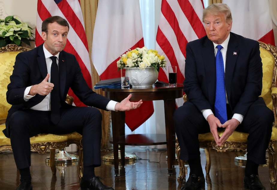 caption: President Trump and French President Emmanuel Macron aired their differences on the sidelines of a NATO leaders' summit in London.