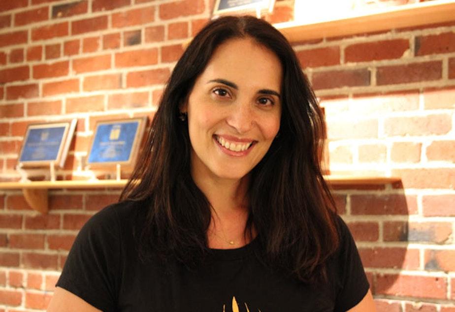 caption: Jennifer Hopper in KUOW's green room in 2014.