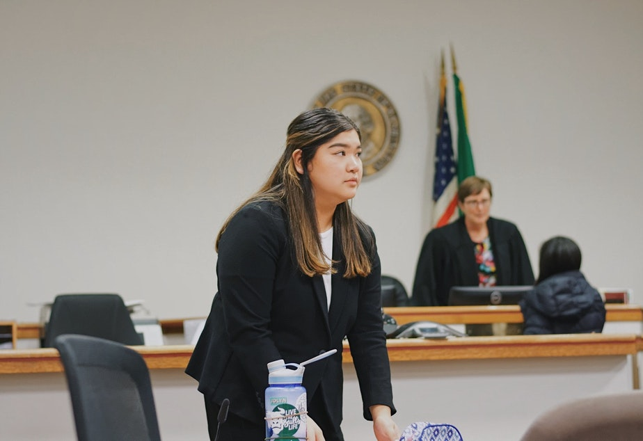 caption: Sancha Gonzalez participates in Mock Trial and prepares her statement to prove that her client is not guilty.